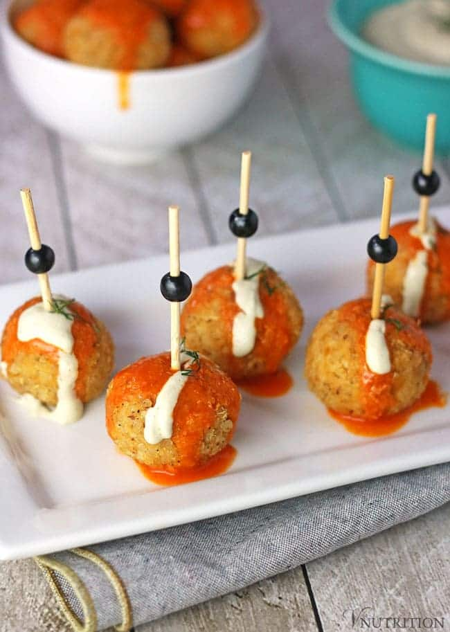 Buffalo Quinoa Balls with Ranch Dipping Sauce
