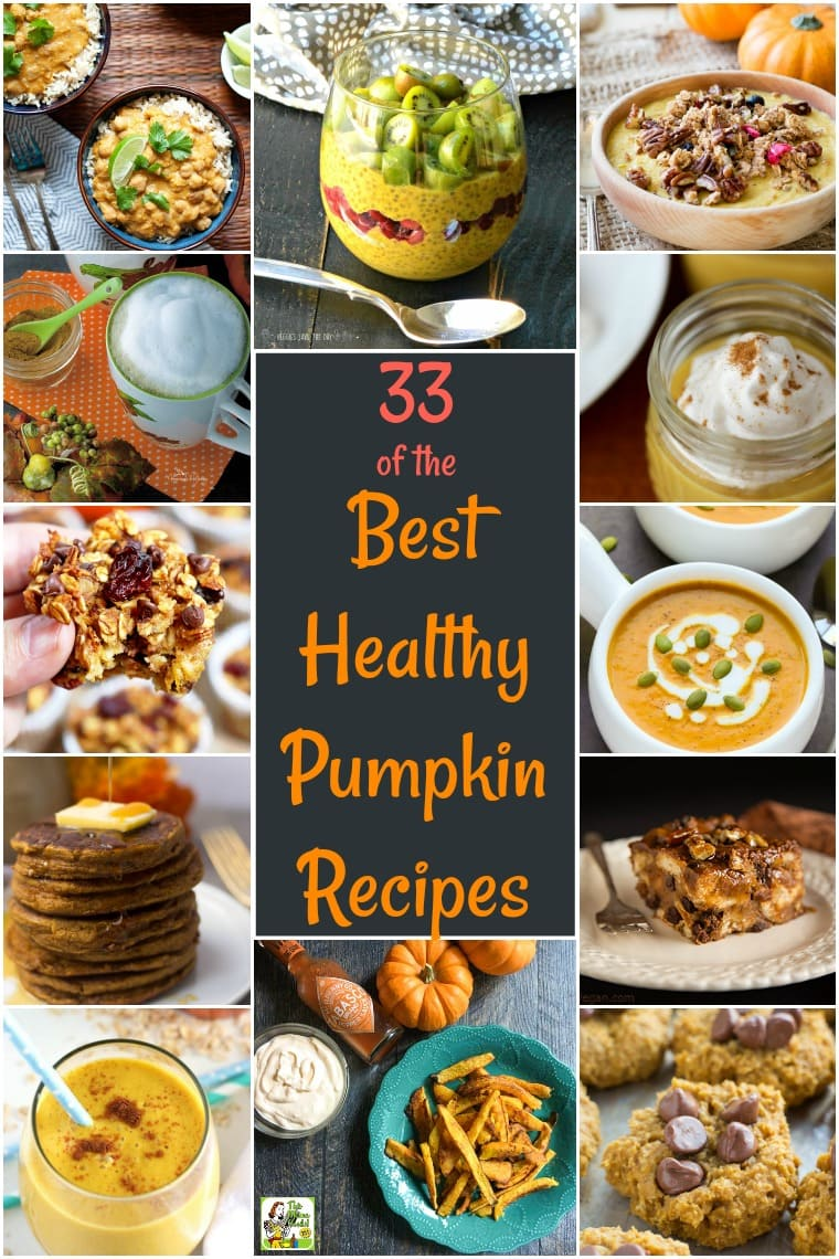 33 of the Best Healthy Pumpkin Recipes: these healthy fall recipes feature vegan, sugar free, low carb, gluten free, dairy free, and paleo pumpkin recipes. Healthy pumpkin recipes include drinks, breads, entrees, side dishes, soups, and dips. You'll find links to healthy pumpkin desserts, healthy pumpkin soup recipes, healthy pumpkin muffin recipes, and more.