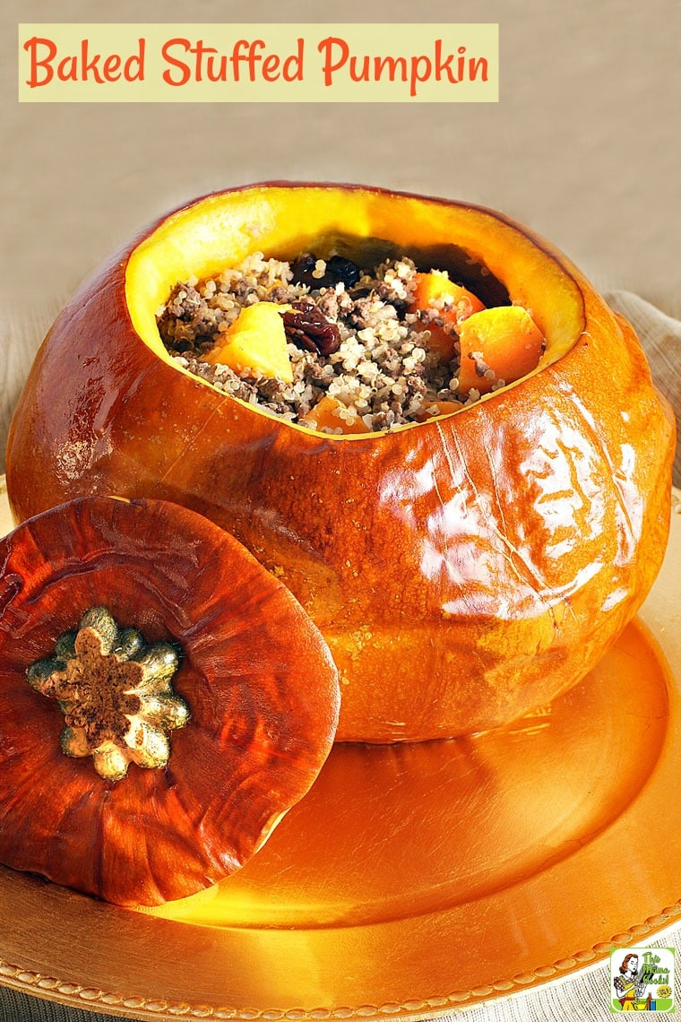 This baked stuffed pumpkin recipe uses ground venison, quinoa, dried cherries & butternut squash. This one pot recipe for fall & Thanksgiving is easy to make.