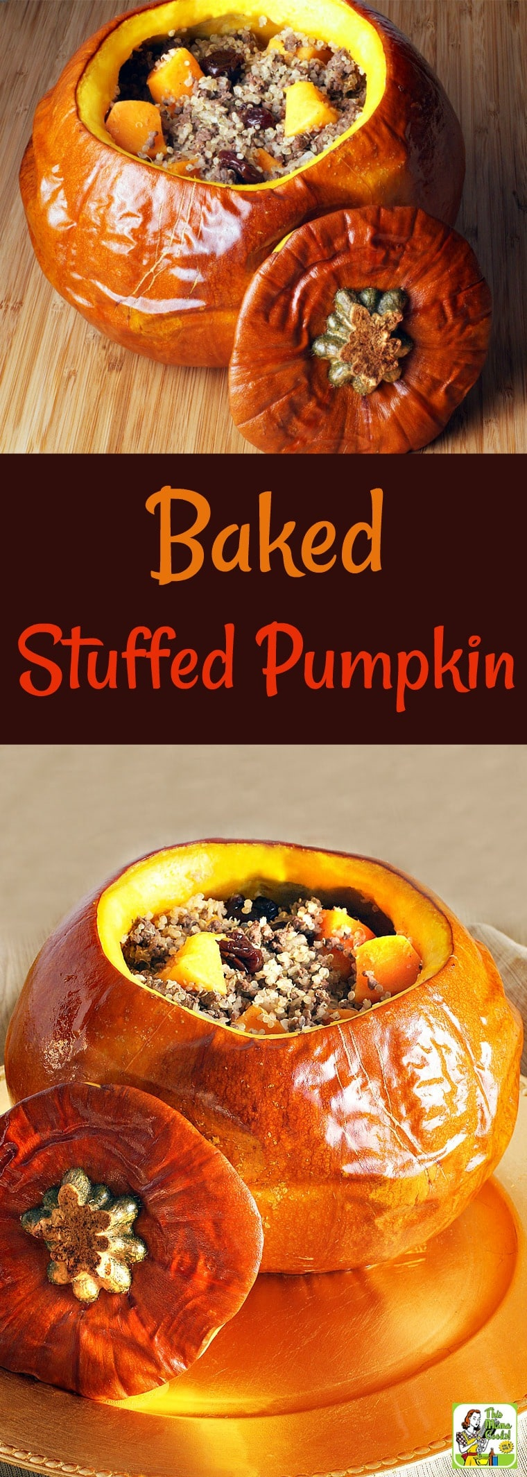 This Baked Stuffed Pumpkin recipe uses ground venison, quinoa, dried cherries, and butternut squash. This fall and Thanksgiving pumpkin recipe is also gluten-free, healthy and packed with nutrition. A true one pot recipe that is super easy to make, too! #recipe #easy #recipeoftheday #healthyrecipes #glutenfree #easyrecipes #venison #fruit #fall #thanksgiving #halloween #holiday #dinner #healthy #quinoa #pumpkinrecipe #pumpkin #pumpkinrecipe #thanksgiving