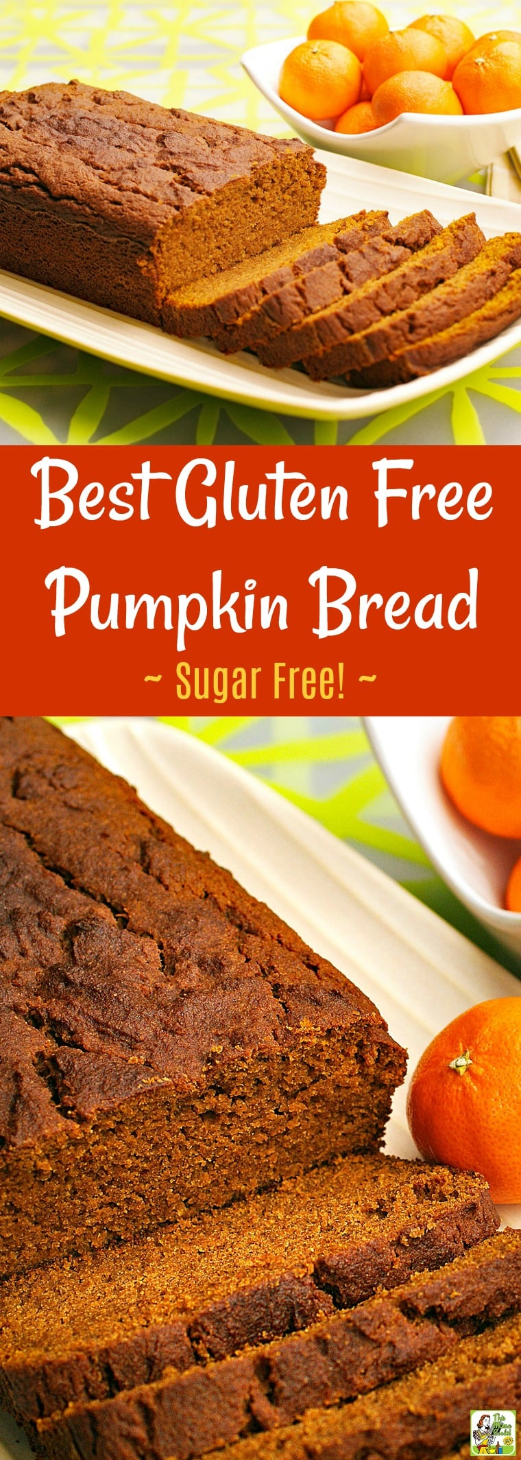 Looking for a  quick gluten free pumpkin bread recipe? This best gluten free pumpkin bread recipe is also sugar free! This easy to make pumpkin bread recipe makes 2 loaves! It's also healthy, delicious and filled with fiber.