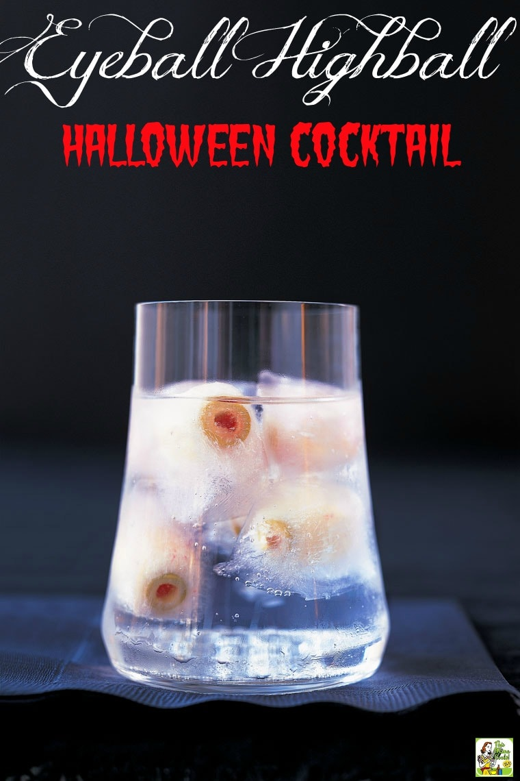 "This Halloween Martini is a spooky highball drink recipe that says, ""Here's looking at you, kid!"" Comes with tips for making Halloween drinks for kids and Creepy Frozen Eyeballs made from radishes stuffed with pimiento-stuffed olives. #halloween #halloweenparty #cocktails #drinks #drinking #drinkrecipes #alcohol #vodka #martini #mocktail #nonalcoholic #partyideas"