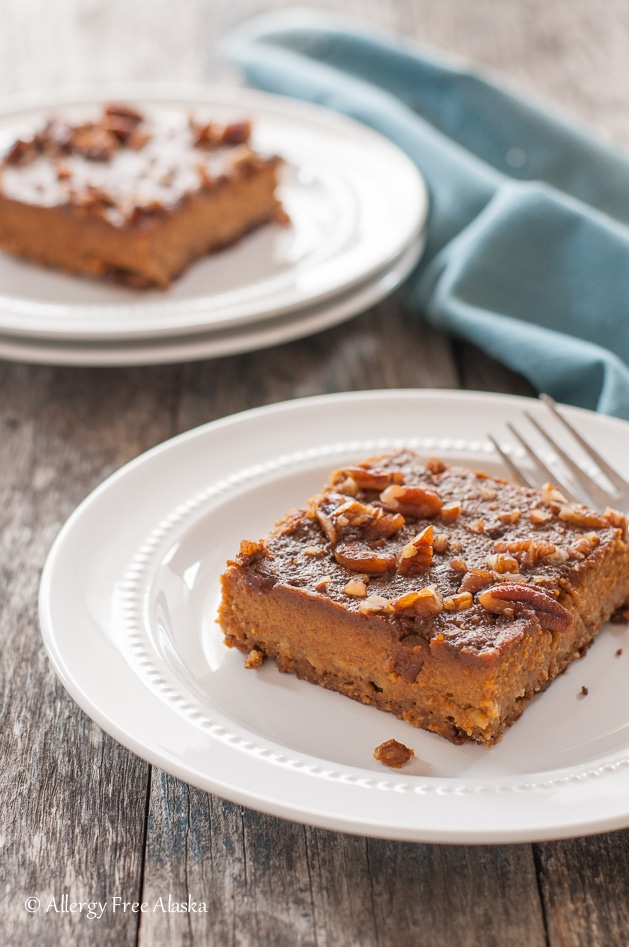 healthy pumpkin desserts: a Gluten Free Dairy Free Pumpkin Pie Bars on a plate with a fork