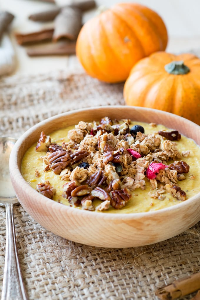 healthy fall recipes: a pumpkin Greek Yogurt Breakfast Bowl