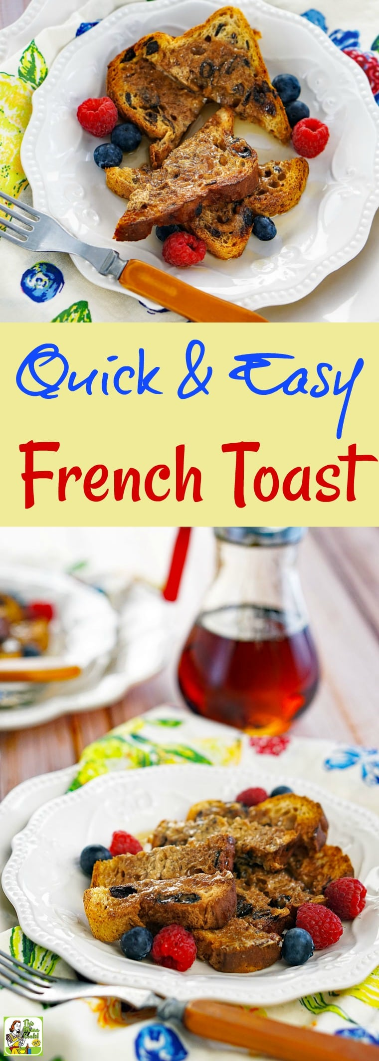 This Quick & Easy French Toast recipe is ideal for busy weekday mornings. No need for a frying pan since this no-cook, gluten-free recipe doesn't use milk or eggs. So easy that even the kids can make up a batch for breakfast or an afterschool snack. #breakfast #glutenfree #toast #snack #easy #healthy #brunch #nocook