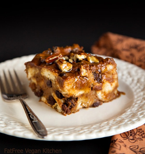 healthy pumpkin desserts: a slice of Vegan Pumpkin Bread Pudding on a plate with a fork