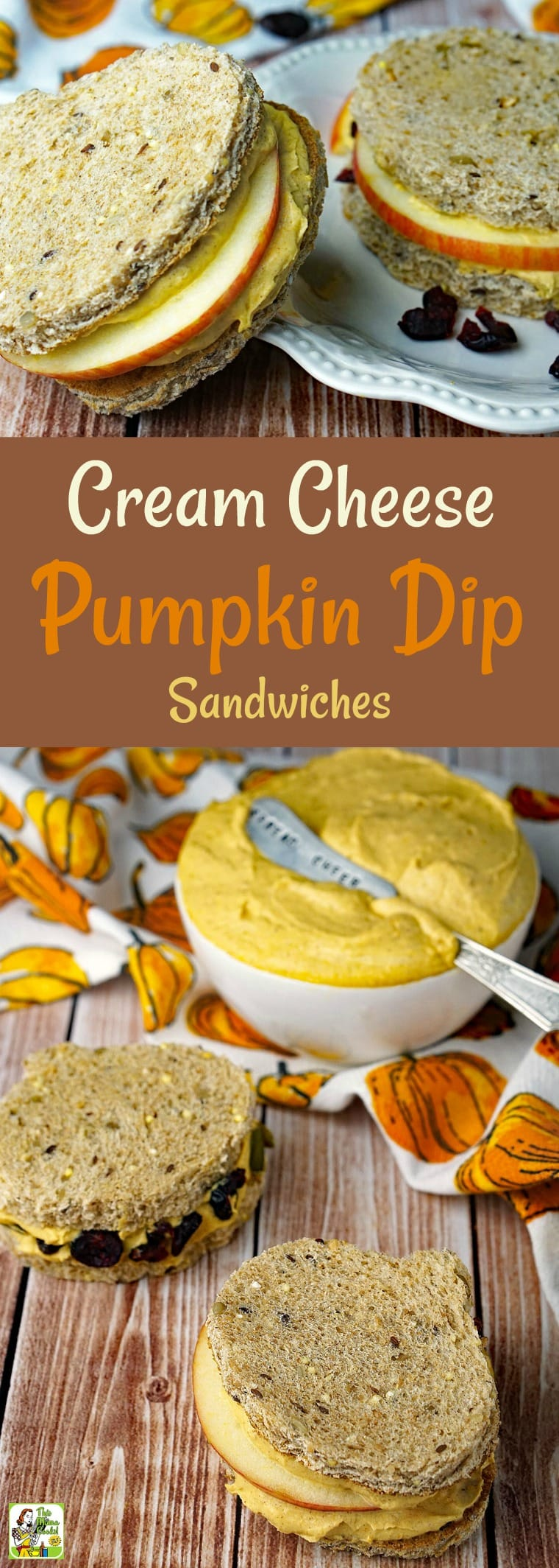 How to make Cream Cheese Pumpkin Dip Sandwiches. These Cream Cheese Pumpkin Dip Sandwiches are terrific for afterschool snacks, a healthy breakfast treat, or as Halloween or Thanksgiving party appetizers. This easy pumpkin dip recipe is healthy, low fat and naturally gluten free. #recipe #easy #recipeoftheday #healthyrecipes #glutenfree #easyrecipes #pumpkin #thanksgiving #halloween #creamcheese #dip #pumpkindip #sandwichspread #healthydip #sandwich #sandwiches