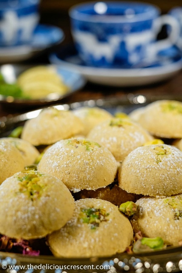 Gluten Free Thanksgiving Desserts - Cardamom Chickpea Cookies with Pistachios from the Delicious Crescent