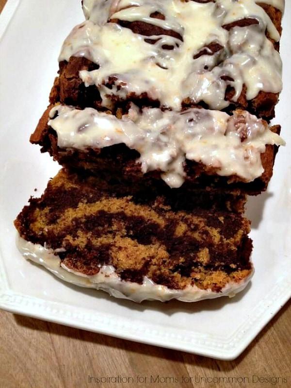 Gluten Free Thanksgiving Desserts - Dark Chocolate and Pumpkin Swirl Cake from Uncommon Designs