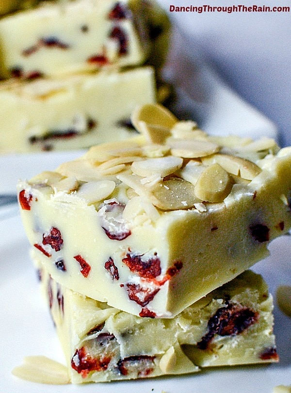 Gluten Free Thanksgiving Desserts - White Chocolate Cranberry Fudge from Dancing Through the Rain