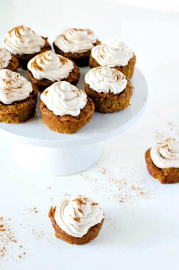 Gluten Free Thanksgiving Desserts - Paleo Pumpkin Cupcakes with Cinnamon Meringue Frosting from Paleo Scaleo