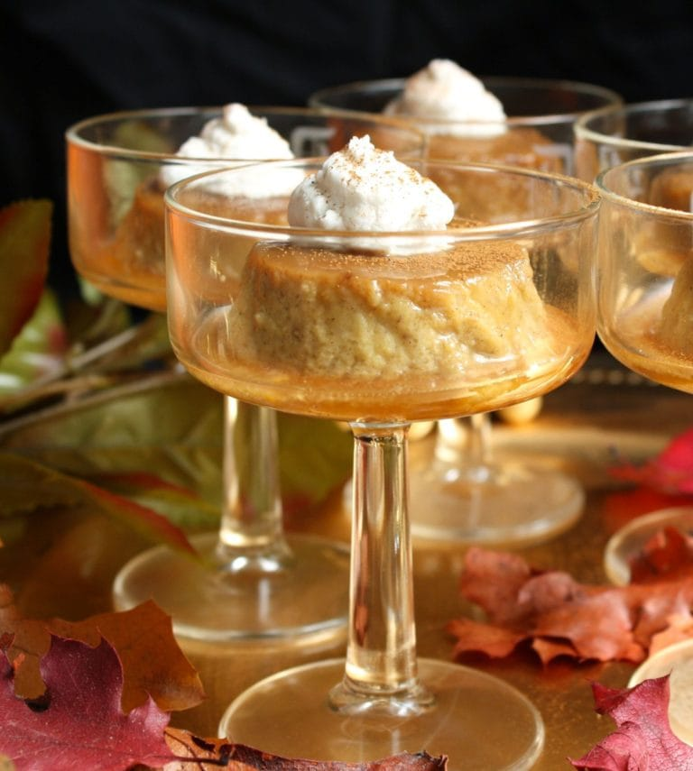 Gluten Free Thanksgiving Desserts - Paleo Pumpkin Pie Flan with Coconut Whipped Cream from This Seasons Table