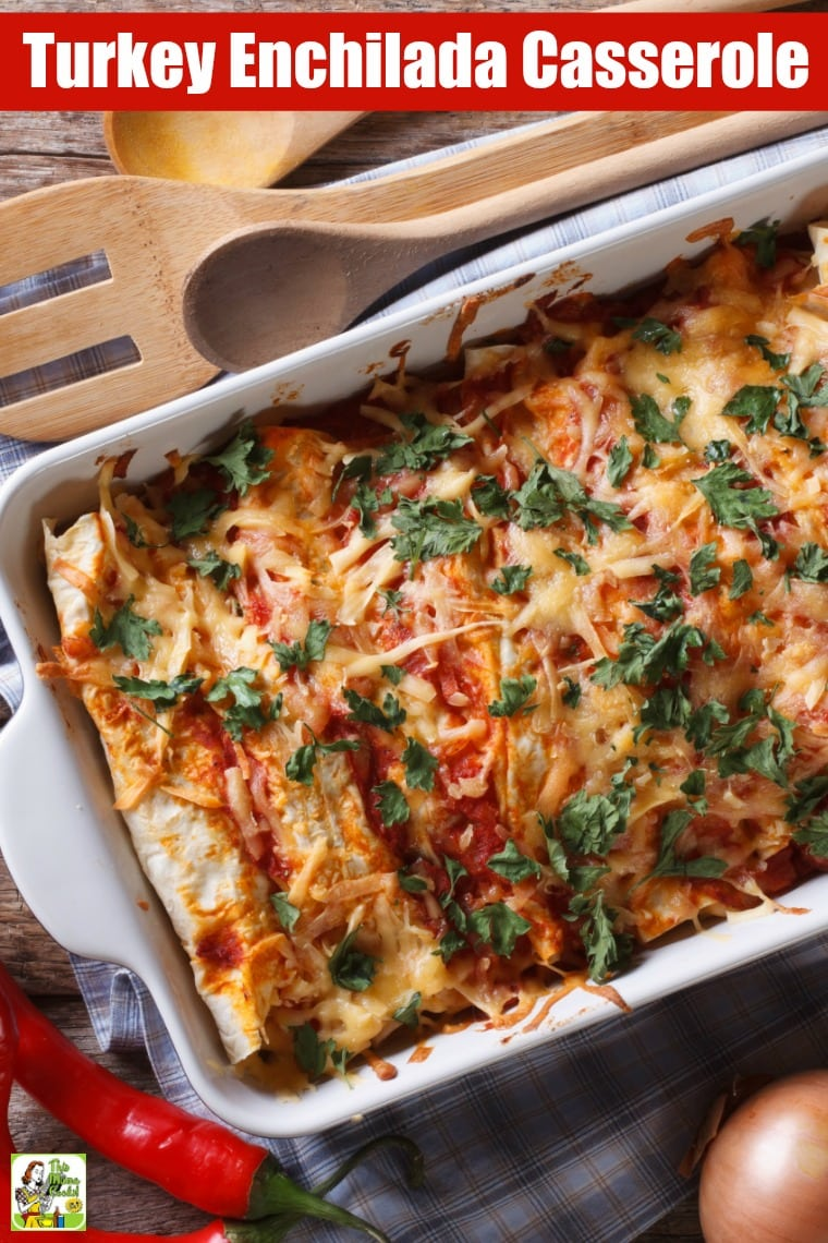 Turkey Enchilada Casserole and serving spoons