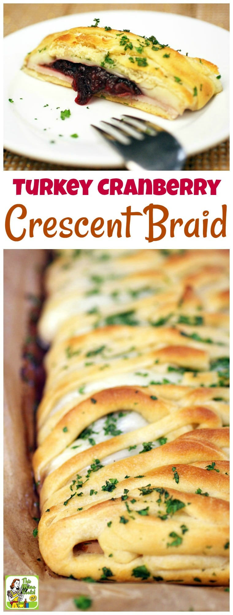 Love crescent roll appetizers? Not only is this Turkey Cranberry Crescent Braid recipe a terrific party appetizer, but it's also a thrifty way to use up holiday dinner leftovers. This will soon become one of your favorite holiday crescent rolls recipes! #recipe #easy #recipeoftheday  #easyrecipes #crescentrolls #appetizers #holidayrecipes #leftovers #turkey #cranberry #partyfood #crescentbraid #thanksgiving #christmas