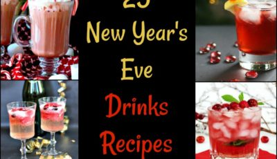 Are you looking for New Year's Eve drinks recipes to serve to guests at your end of the year party? Here are 25 New Year's Eve cocktail recipes (and a few mocktail recipes) that everyone will love. Click on the links and discover these amazing new years eve drink recipes from some of my favorite bloggers. You'll find all kinds from classic champagne cocktails, guilt-free juice filled drinks, margaritas, tea cocktails, boozy hot chocolate, wine spritzers, and more! New Year's Eve drinks recipes party tips To encourage your guests to make their own cocktails and mocktails, print out some recipe ideas. Or prepare a tray of premade cocktails and mocktails ready to go – either in cocktail glasses, a pitcher or a punch bowl. (And don't forget the ice!) You can find more New Year's Eve cocktail recipes here at This Mama Cooks! On a Diet. Two New Year's Eve drink ideas that I like to mix up are Slow Cooker Mulled Wine and Slow Cooker Smoking Bishop since you can make the drinks ahead of time and guests can serve themselves. Do you have any favorite New Year's Eve drinks that you make every year? Share below! Slow Cooker Mulled Wine at This Mama Cooks! On a Diet Pomegranate Wine Spritzer from Chaos is Bliss Healthy And Festive Cranberry Mimosa Recipe from Watch What U Eat Whiskey Champagne Cocktail from Ann's Entitled Life Frosty Coconut Mint Green Tea Mocktail from Strength & Sunshine Spiked Hot Chocolate from TAK The Anthony Kitchen Strawberry Whiskey Champagne Cocktail from My Crazy Good Life Sparkling Shiraz Cocktail with Dark Chocolate Coated Cacao Nibs from Nomageddon Sparkling Strawberry Martini from Hunger Thirst Play Citrus Champagne Sparklers from Dash of Jazz Ginger Jungle Bird Sparkling Cocktail from Feast in Thyme White Winter Sangria Recipe at Everyday Maven Blue Christmas Mocktail Recipe from 3 Boys and a Dog Blue Q Margarita from Pass Me Some Tasty Cinnamon Cherry 7UP Cocktail with Bourbon from The Weary Chef Spiked Mexican Hot Chocolatefrom Deliciously Plate
