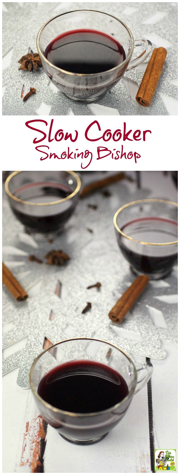 Need a mulled spiced wine recipe for a Christmas or New Year's Eve party? Smoking Bishop is a warmed, spiced fruit wine and port drink. Usually, it takes two days to make, but this recipe cuts the time to half a day by using a slow cooker! Your guests will love this crock-pot party drink recipe! #slowcooker #crockpot #wine #cocktails #mulledwine #drinks #drinking #smokingbishop #drinkrecipe