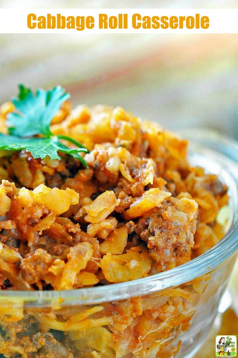 This Cabbage Roll Casserole is a fix it and forget it recipe that's made in your crock-pot. Crock Pot Stuffed Cabbage is easy to make because it uses convenient yet healthy items from the store like coleslaw mix and ground sirloin. #crockpot #slowcooker #stuffedcabbage #casserole #groundbeef #recipe #easy #recipeoftheday #healthyrecipes #easyrecipes #glutenfree
