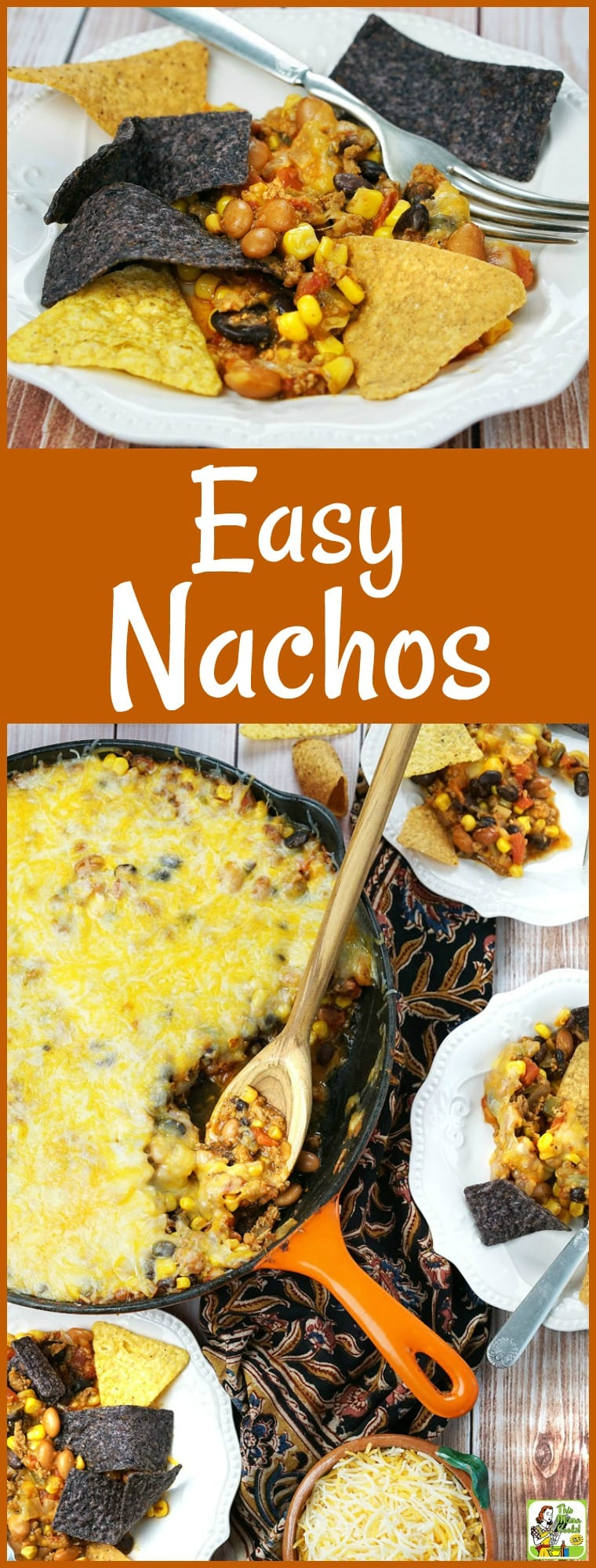 Looking for an Easy Nachos Recipe to make for a party? Try this nachos dip recipe that can be made in less than 20 minutes and served in a skillet! It's packed with healthy beans and lean ground turkey, so it's guilt-free dinner dish your family will love. #nachos #dip #party #appetizer #partyfood #cheese #glutenfree #turkey #beans