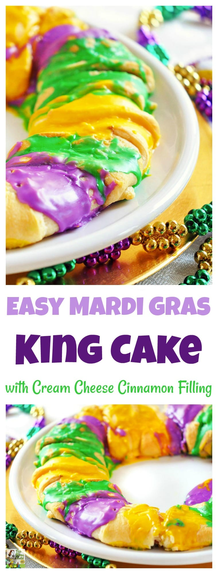 Need a King Cake recipe for your Mardi Gras party? Make this healthier and easy to make Mardi Gras Kings Cake recipe with Cream Cheese Cinnamon Filling! #mardigras #mardigrasparty #mardigrasfood #kingscake #kingscakebaby #crescentdough #crescentrecipes #baking #bakingrecipes #easybaking#cake #cakerecipes #creamcheese #desserts #dessertrecipes #dessertideas