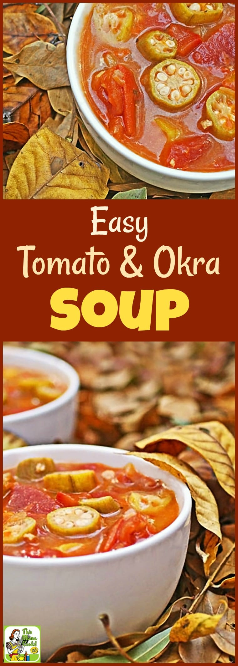 Have you ever tried okra soup? Well, if you're looking for an easy to make, healthy soup recipe, you'll love this Easy Tomato & Okra Soup recipe. So delicious, even your kids will ask for seconds! Make a double batch and freeze half for another night's soup and salad lunch or dinner. #soup #okra #tomatoes #healthysoup #glutenfree #soupandsalad #recipe #easy #recipeoftheday #healthyrecipes #easyrecipes