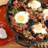 Baked Eggs with Skillet Potatoes in Pesto Recipe