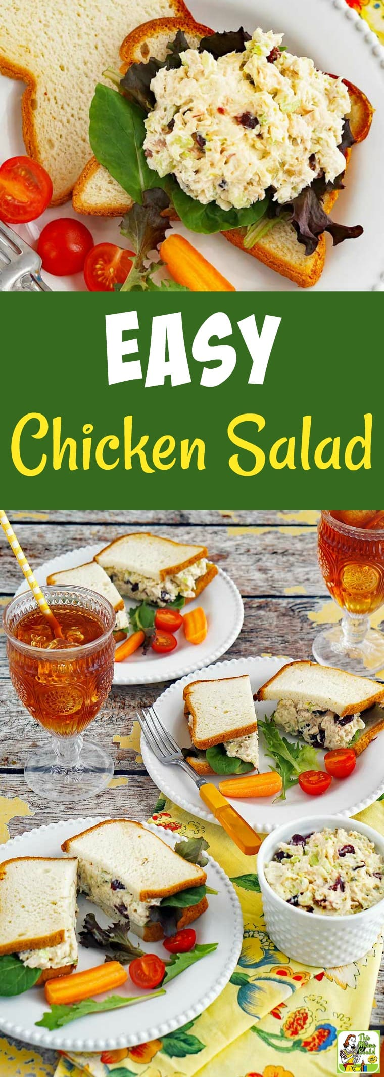 How To Make An Easy Chicken Salad Recipe. Love chicken salad from the deli counter? Then make your own homemade chicken salad in less than 30 minutes. This chicken salad sandwich recipe is gluten-free and made with Greek yogurt, celery, and dried cranberries. #chicken #salad #glutenfree #cranberries #sandwich #chickensalad