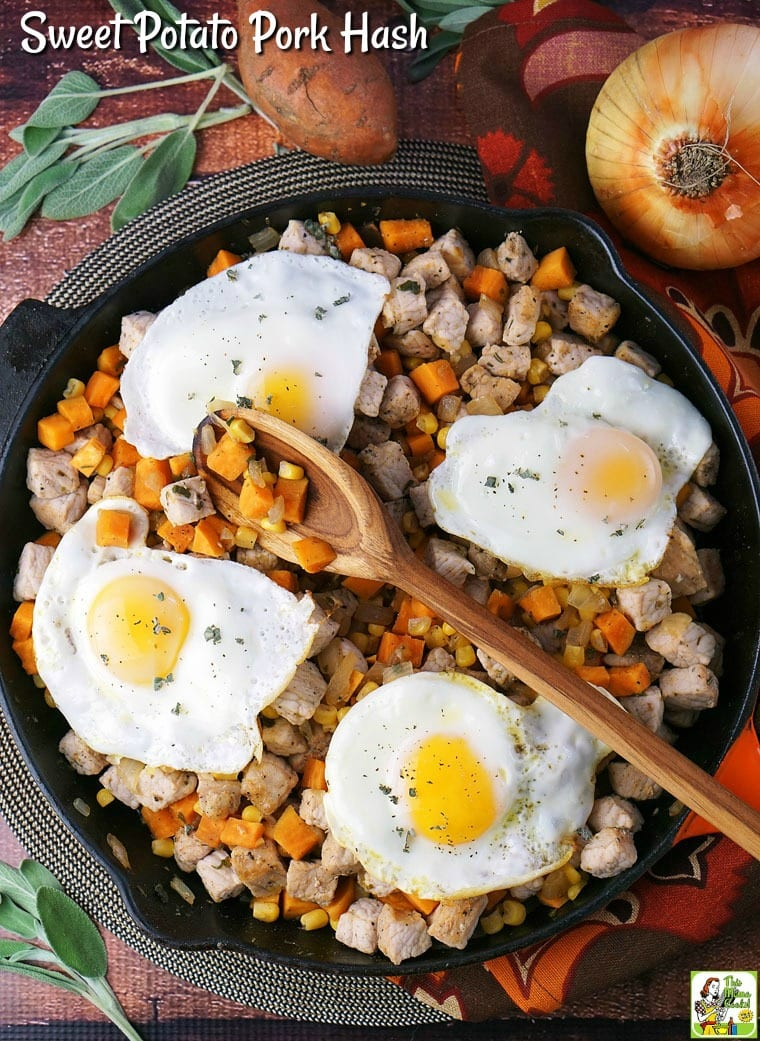 This one pot Sweet Potato Pork Hash recipe is perfect for breakfast or dinner! #glutenfree #recipes #recipeoftheday #healthyrecipes #easyrecipe #easyrecipe #onepot #onepotmeal #onepotdinner #onepotmeals #onepotdish #onepotrecipes #onepotrecipe #skillet #skilletmeals #skilletpotatoes #skilletcooking #skilletdinner #skilletdishes #SweetPotato #SweetPotatoHash #Pork #PorkHash #Breakfast #Dinner #Eggs #BreakfastHash