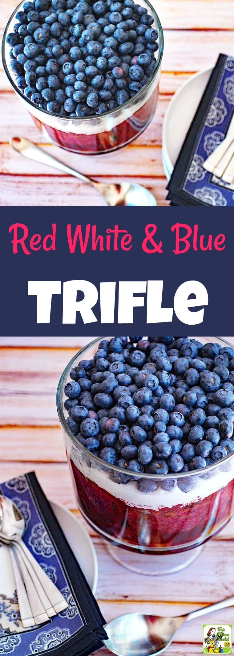 Make a Red White and Blue Trifle for your next party! This easy trifles recipe uses three types of healthy berries – blueberries, blackberries, and raspberries. It\'s reduced calorie and using non-dairy topping and gluten-free bread, too. It\'s the perfect trifle berry dessert for entertaining! #recipe #trifle #dessert #berries #blueberries #raspberries #fourthofjuly #easy #dessertrecipes #recipeoftheday #healthyrecipes #easyrecipes #glutenfree #recipe #memorialday #cookout #redwhiteandblue