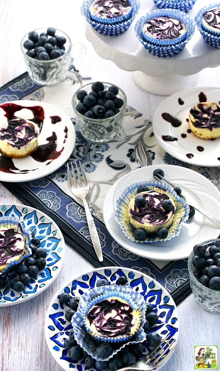 Try this easy to make Gluten Free Mini Cheesecake with Blueberry Swirl recipe!