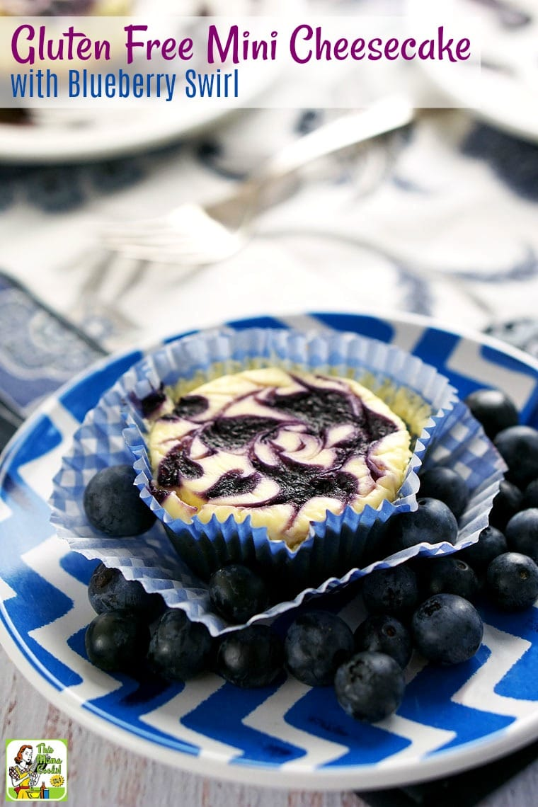 Try this easy to make Gluten Free Mini Cheesecake with Blueberry Swirl recipe! These easy mini cheesecakes are made with fresh blueberries, non-fat Greek yogurt, low-fat cream cheese, and monk fruit natural sweetener. #recipe #easy #recipeoftheday #healthyrecipes #glutenfree #easyrecipes #snack #snacks #dessert #dessertrecipes #blueberries #cheesecake #cupcakes #cupcake #baking #party #partyfood #tailgating #entertaining
