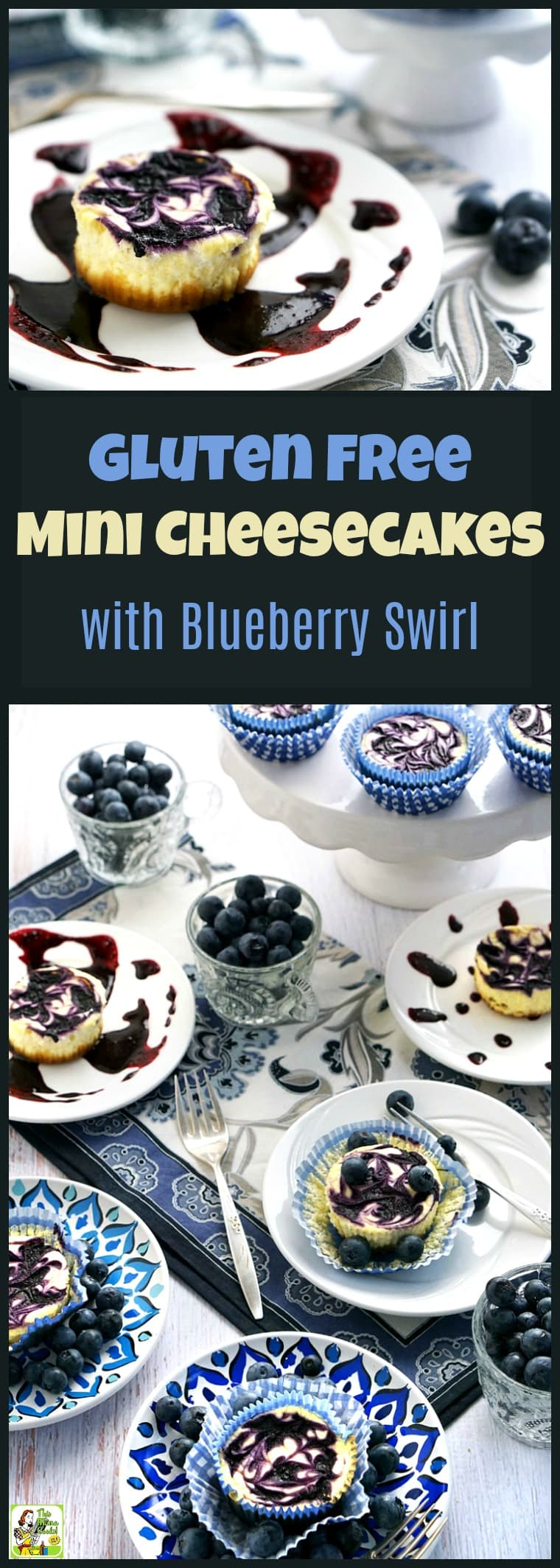 Gluten Free Mini Cheesecake with Blueberry Swirl is a guilt-free dessert recipe because they're made with blueberries, non-fat Greek yogurt, low-fat cream cheese & monk fruit sweetener. This gluten-free mini cheesecake recipe is the ideal dessert for parties & tailgating! #recipe #easy #recipeoftheday #healthyrecipes #glutenfree #easyrecipes #snack #snacks #dessert #dessertrecipes #blueberries #cheesecake #cupcakes #cupcake #baking #party #partyfood #tailgating #entertaining