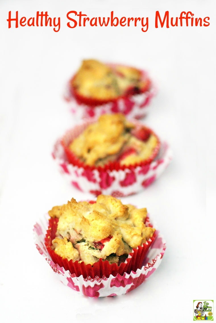 Start your day with Healthy Strawberry Muffins. This easy gluten free muffin recipe makes a terrific healthy breakfast, brunch, snack or dessert treat. This strawberry muffins recipe can be doubled and frozen for later. #recipe #easy #recipeoftheday #healthyrecipes #glutenfree #easyrecipes #dessert #baking #dessertrecipes #strawberries #muffins #breakfast #brunch #snack