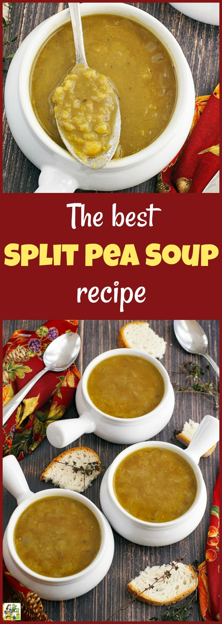 Learn how to make this Best Split Pea Soup recipe for a busy weeknight. This pea soup recipe that can be made in about an hour. Make up a double batch to freeze and heat up in your slow cooker or Crock-Pot. Can be made as a vegetarian or vegan soup. #recipe #easy #recipeoftheday #healthyrecipes #glutenfree #easyrecipes #soup #peasoup #vegetarian #vegan