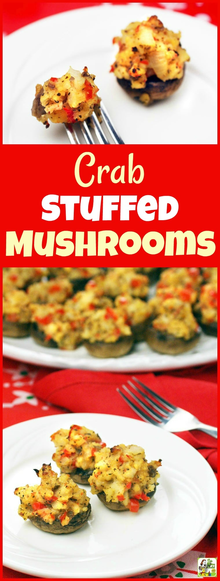 Make Crab Stuffed Mushrooms for your party! These stuffed mushroom appetizers are gluten free. Your guest will love these healthy stuffed mushrooms. #recipe #easy #recipeoftheday #healthyrecipes #glutenfree #easyrecipes #mushrooms #appetizers #appetizerseasy #crab #partyfood #entertaining #stuffedmushrooms #holidays #Christmas