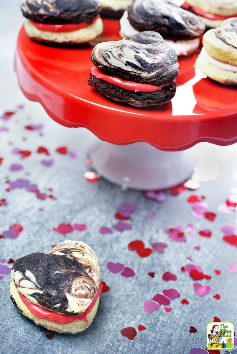 These easy whoopie pies are perfect for Valentine's Day. Change up the filing colors for other holidays.