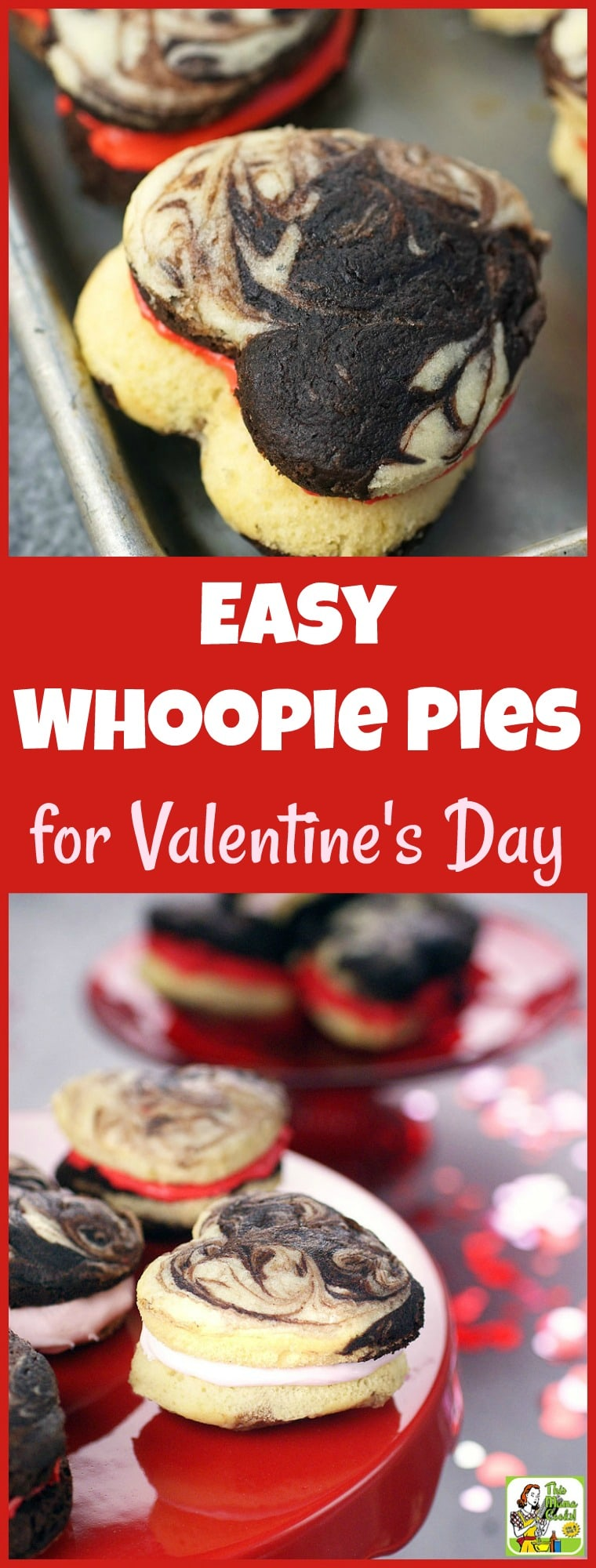 This Easy Whoopie Pies recipe for Valentine's Day is made from gluten-free cake mix in a heart shaped whoopie pie pan. The easy to make whoopie pie filling is a combination of store-bought frosting and Marshmallow Fluff. #recipe #easy #recipeoftheday #healthyrecipes #glutenfree #easyrecipes #desserts #dessertrecipes #dessertideas #baking #bakingrecipes #easybaking #ValentinesDay #dairyfree #whoopiepies