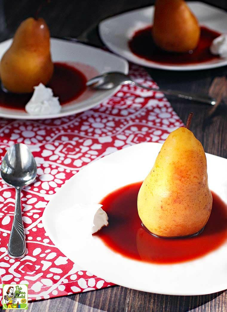 Slow Cooker Poached Pears are cooked in unsweetened cherry juice and sweeten naturally with orange juice and no-calorie monk fruit sweetener.