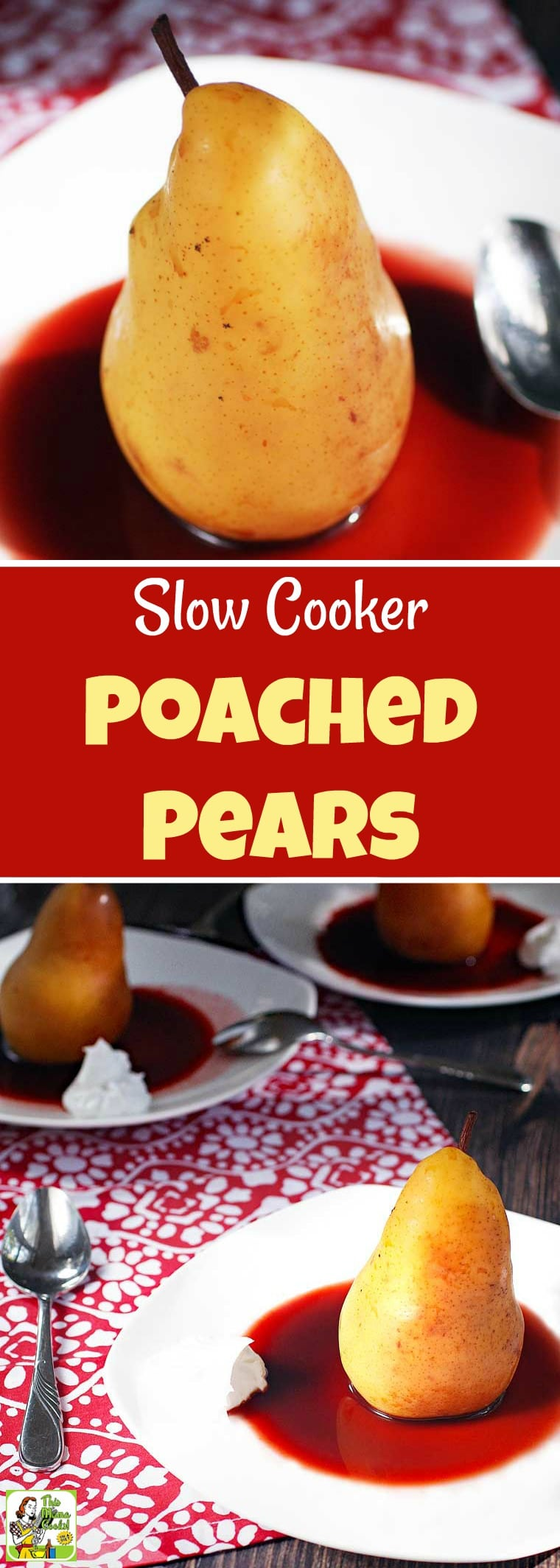 Slow Cooker Poached Pears recipe for Valentine's Day uses unsweetened cherry juice instead of wine and orange juice and monk fruit sweetener instead of sugar. Served with coconut cream. This dessert recipe is sugar-free, vegan and gluten-free. #sugarfree #sugarfreerecipes #pears #recipe #easy #recipeoftheday #healthyrecipes #glutenfree #easyrecipes #desserts #dessertrecipes #dessertideas #slowcooker #slowcookerrecipes #crockpot #crockpotrecipes #valentinesday #vegan #veganfood #veganrecipes
