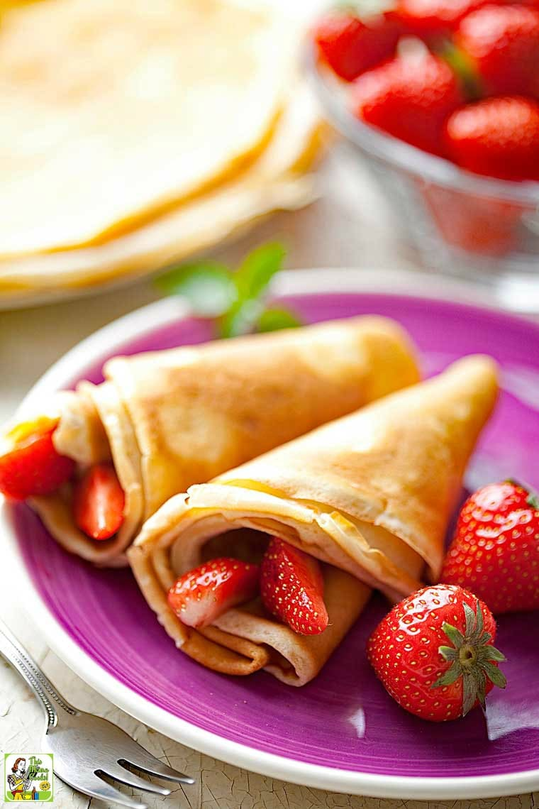 Gluten Free Crepes can be served as a dessert with chocolate sauce and fruit or berries.