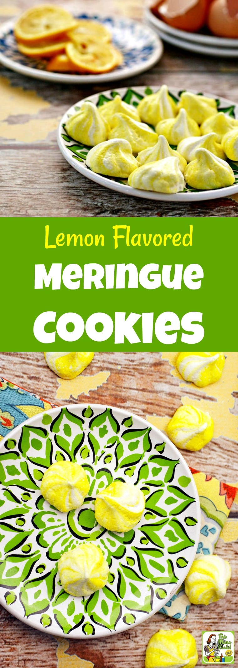These Meringue Cookies are low in fat, gluten-free, and a guilt-free indulgence. This meringue recipe is flavored with grated Meyer lemon rind and optionally colored with paste food coloring. Omit the lemon to make vanilla meringue cookies instead. #recipes #easy #recipeoftheday #healthyrecipes #glutenfree #easyrecipes #baking #cookies #cookierecipes #snacks #lowcaloriesnacks #desserts #dessertrecipes #dessertideas #lowfat #meringues #meringuecookies
