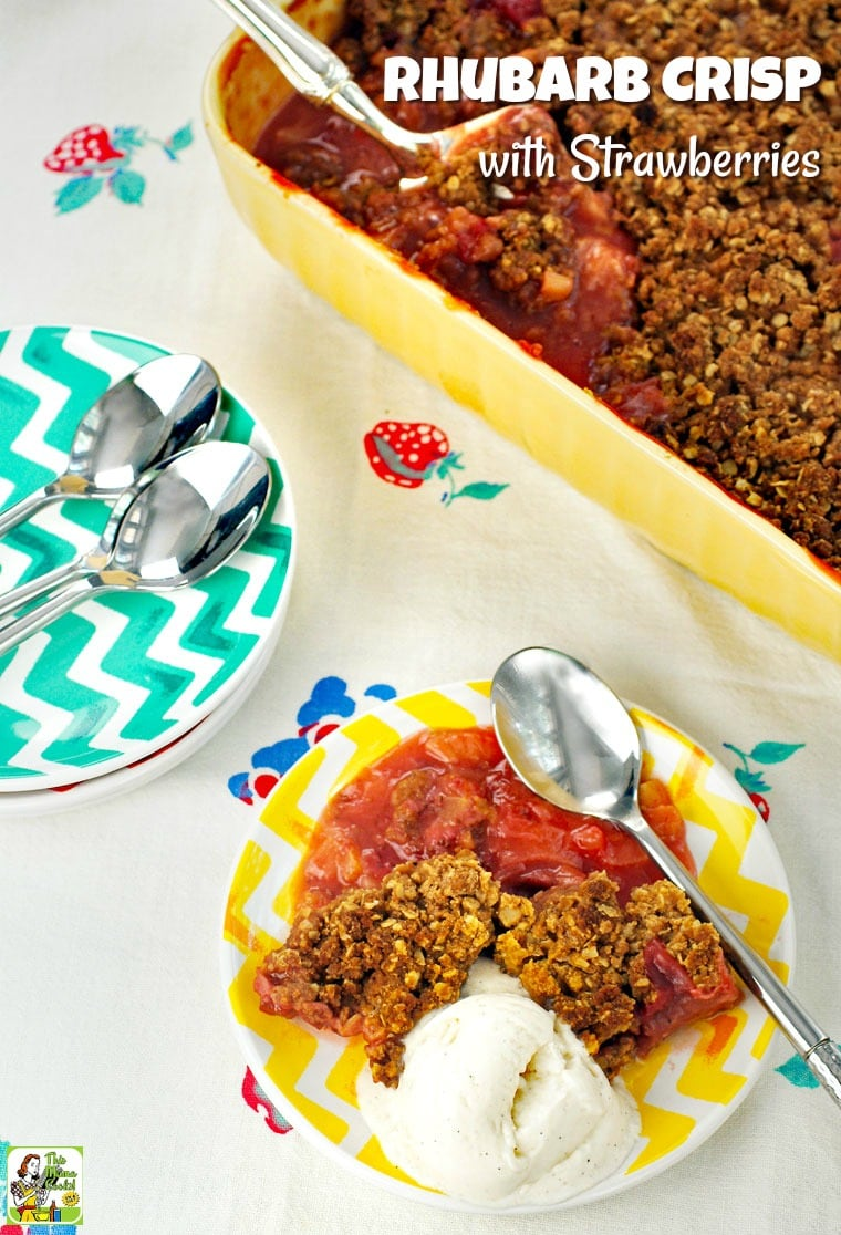 Love baking rhubarb recipes for dessert? Then you must try this Rhubarb Crisp with Strawberries recipe. This rhubarb crisp recipe is gluten-free, sugar-free, dairy-free and vegan! #vegan #veganrecipes #vegandesserts #recipes #easy #recipeoftheday #healthyrecipes #glutenfree #easyrecipes #desserts #dessertrecipes #dessertideas #sugarfree #strawberries #strawberry #rhubarb