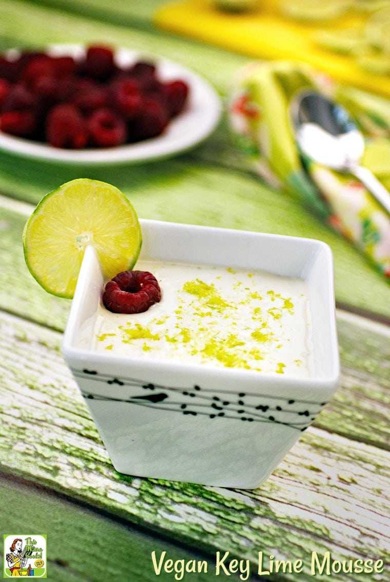 This vegan mousse is so delicious you'd never know it's made with tofu. Vegan Key Lime Mousse is also sugar-free and gluten-free. #vegan #veganrecipes #vegandesserts #mousse #recipe #easy #recipeoftheday #healthyrecipes #glutenfree #easyrecipes #desserts #dessertrecipes #dessertideas #lime #keylime #tofu #sugarfree