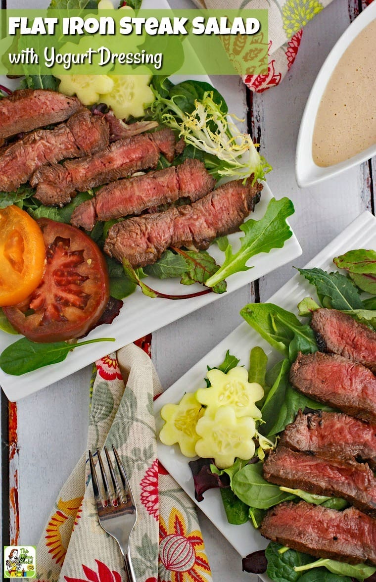 This flat iron steak salad with yogurt dressing recipe makes an easy weeknight dinner. The steak is tenderized with store-bought barbecue sauce and served with a healthy dinner salad. #recipes #easy #recipeoftheday #healthyrecipes #glutenfree #easyrecipes #salad #saladrecipes #grill #grilling #grillrecipes #grillingrecipes