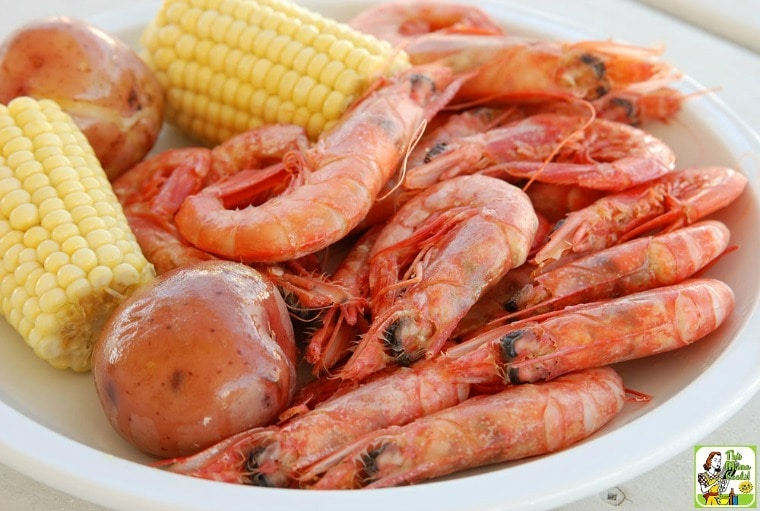 Shrimp, corn, potatoes - cajun seafood boil