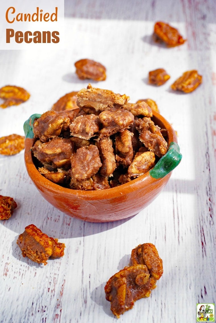 Make this Candied Pecans Recipe to use in salads or as a party appetizer. Add these easy candied pecans to your favorite trail mix or in baked goods. Add different spices to make these into spicy candied pecans.recipes #easy #recipeoftheday #healthyrecipes #glutenfree #easyrecipe #easyrecipes #glutenfreerecipes #sugarfree #homemade #snacks #appetizers #gifts #giftideas