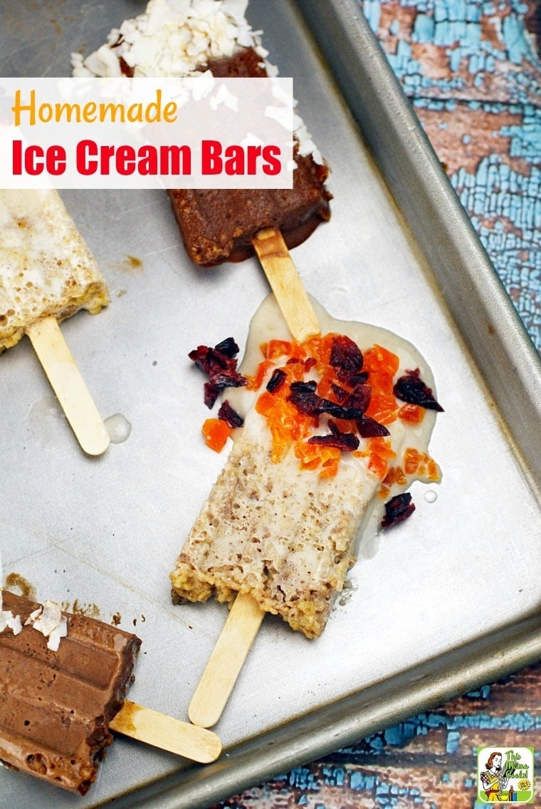 How about making some Homemade Ice Cream Bars for snack time? They're the perfect ice cream dessert recipe to make with the kids! Can be made gluten free, dairy free, vegan, and guilt free depending on what ice cream and ingredients you choose to use. Directions tell you how to use popsicle molds or mini-paper cups and craft sticks. #recipes #easy #recipeoftheday #glutenfree #easyrecipe #easyrecipes #glutenfreerecipes #snacks #desserts #dessertrecipes #dessertideas #veganfood #vegan #veganrecipes #vegandesserts #kids #kidfriendly #dairyfree #icecream