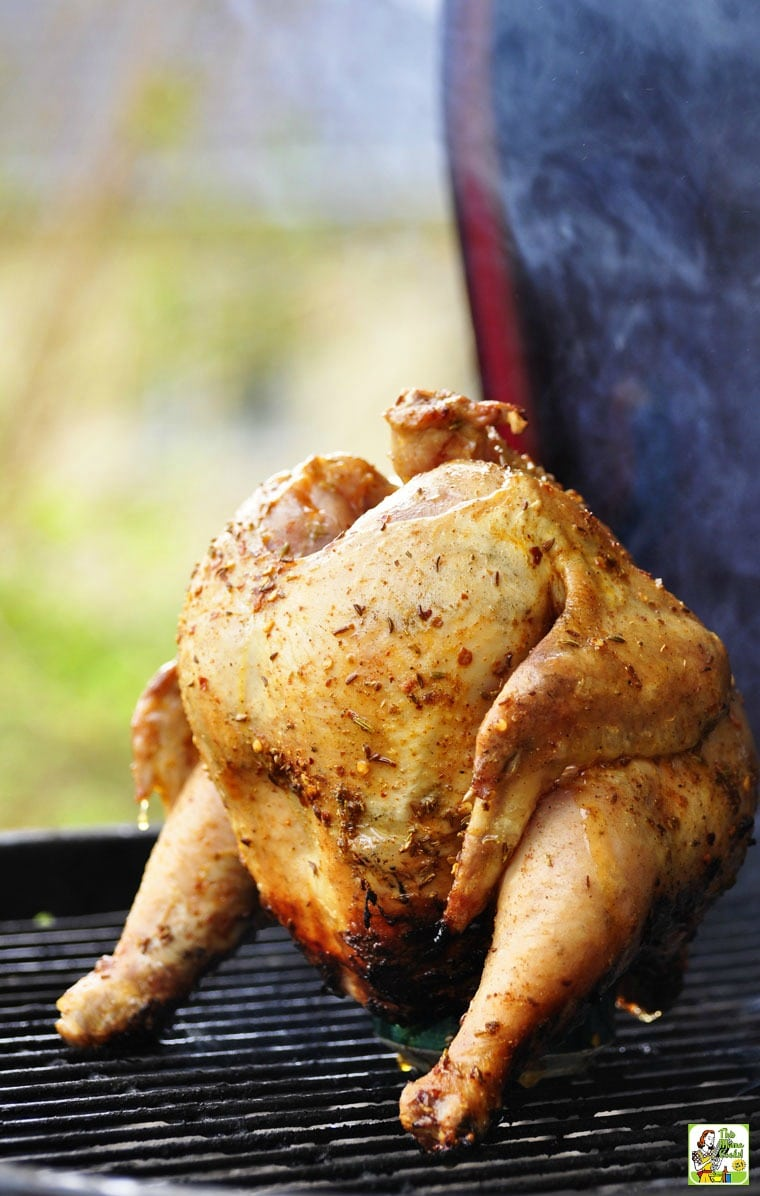 Beer Can Chicken on a grill or smoker.
