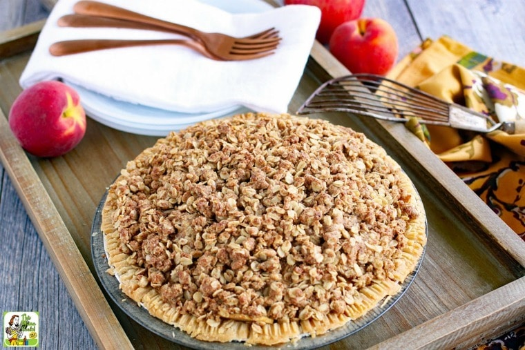 Apple Peach Pie Recipe with Oatmeal Crumb Topping.