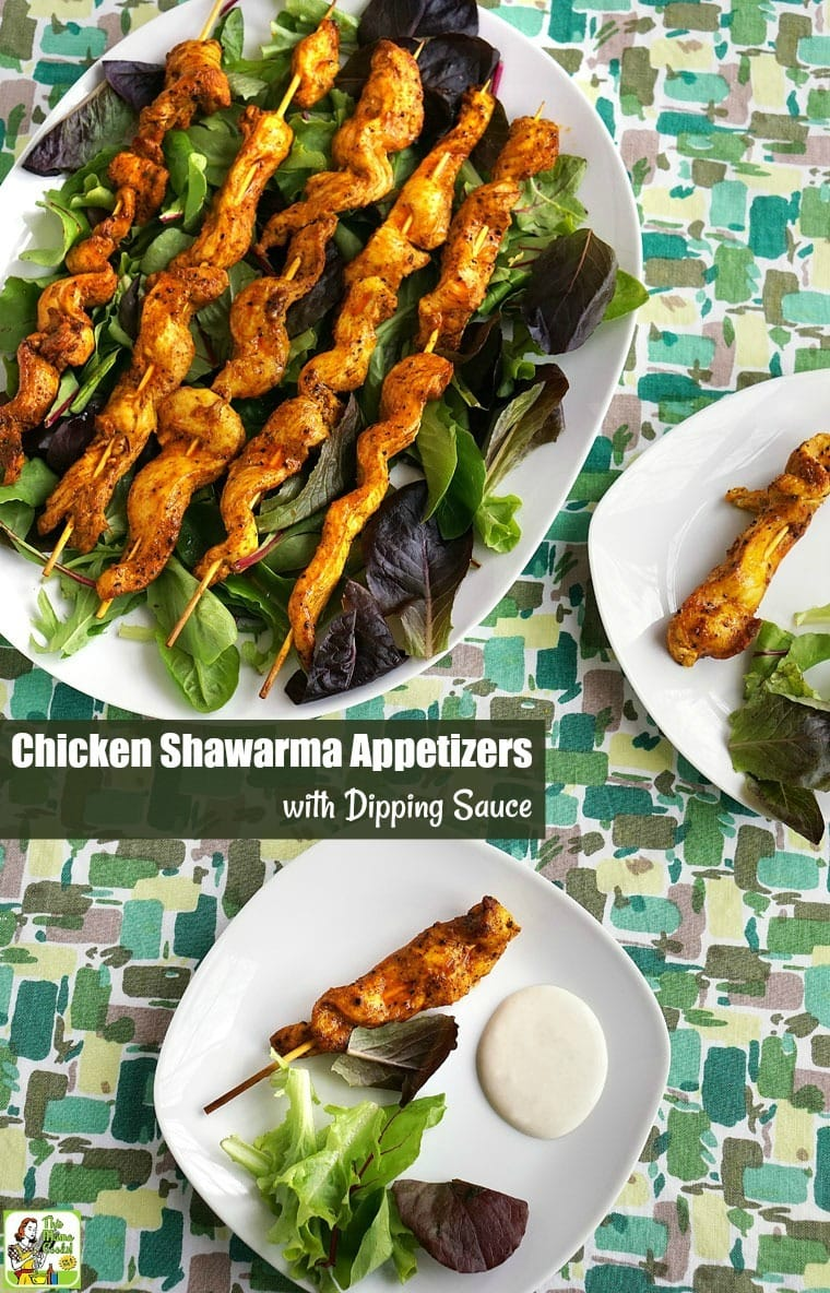 Chicken Shawarma Appetizers with Dipping Sauce - Do you love chicken shawarma? This chicken shawarma recipe can be served on skewers as a party appetizer with chicken shawarma sauce, as a marinade for wings, or as an easy dinner recipe to serve with sautéed vegetables. #recipes #easy #recipeoftheday #glutenfree #easyrecipe #easyrecipes #glutenfreerecipes #dinner #easydinner #dinnerrecipes #dinnerideas #chicken #chickenfoodrecipes #chickenrecipes #partyfood #appetizers #appetizerseasy