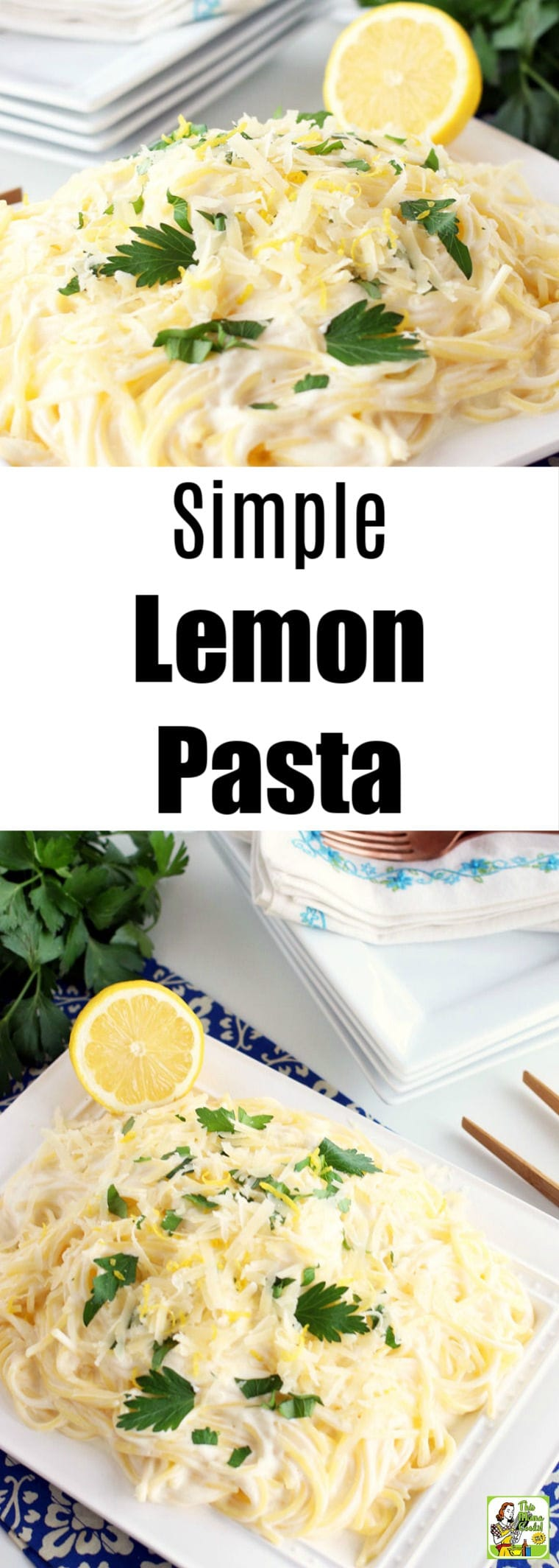 This Simple Lemon Pasta recipe is a delightful pairing of creamy sauce, pasta, and bright lemon flavor that makes a perfect weeknight dinner recipe. Easy to adapt to vegan and gluten-free diets. #recipes #recipe #glutenfree #glutenfreerecipes #dinner #easydinner #dinnerrecipes #pasta #lemon #vegan